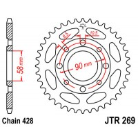 DAELIM 125 DAYSTAR / VS / ROADWIN  - COURONNE 42 DENTS ACIER- JTR269.42