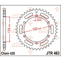 KAWASAKI 125 KMX  - COURONNE 48 DENTS - JTR463.48