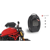 DUCATI MONSTER FIXATION ET SACOCHE RESERVOIR E16P PIN SYSTEM SHAD